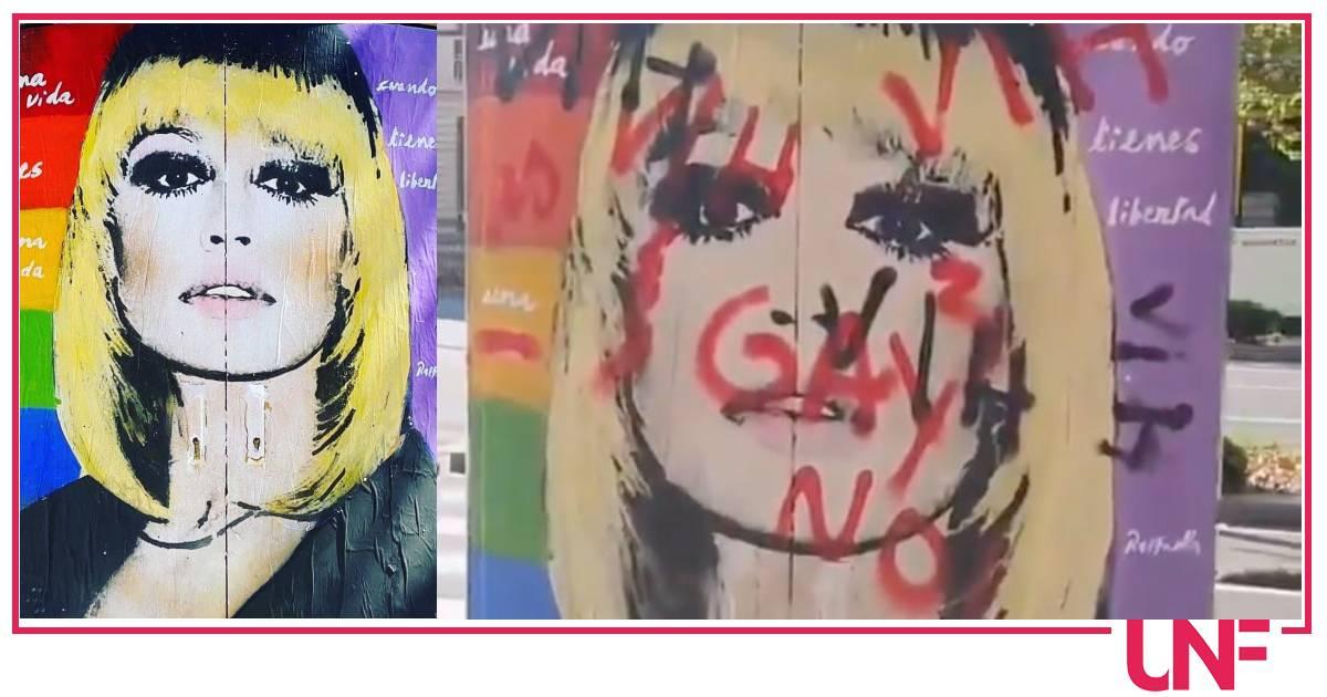 """Raffaella Carrà, danneggiato il murales a Barcellona con scritte omofobe: """"No gay"""""""