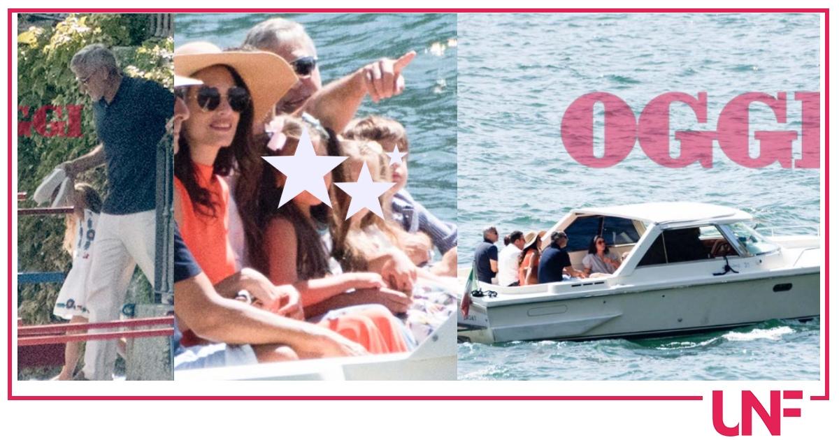 George Clooney al Lago di Como con Amal e i figli