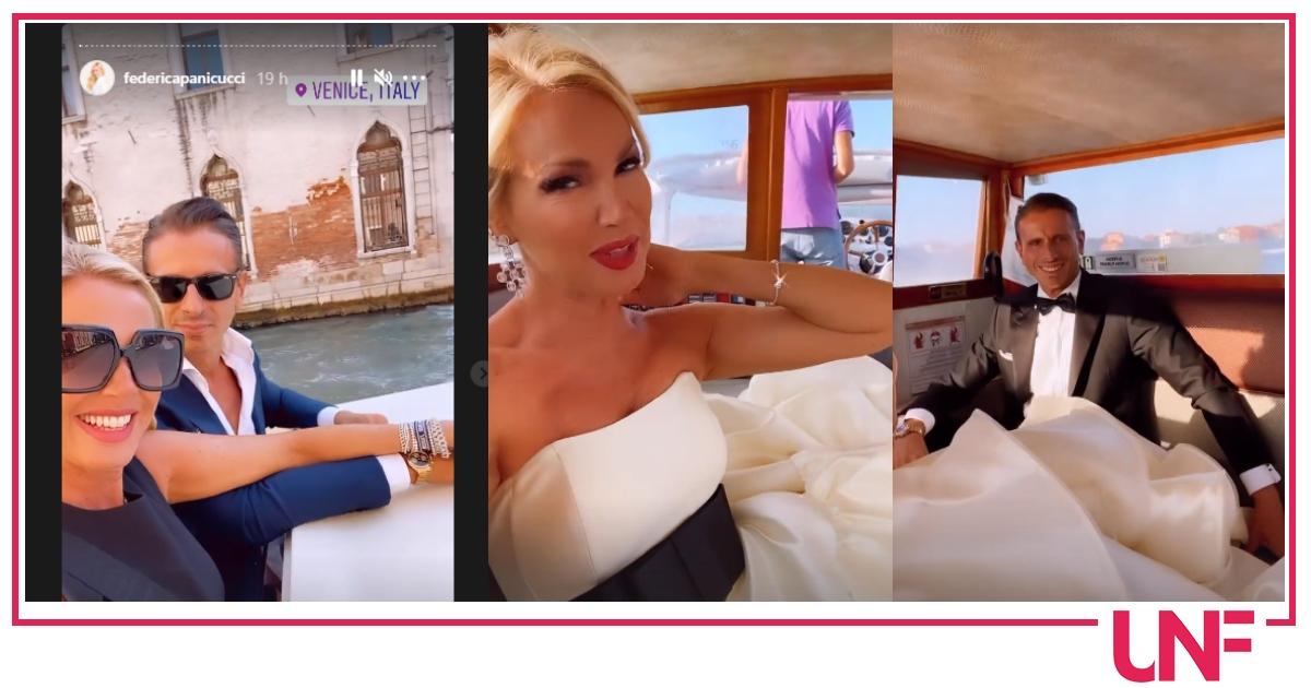 Federica Panicucci con Marco Bacini a Venezia: che abito da favola per la conduttrice