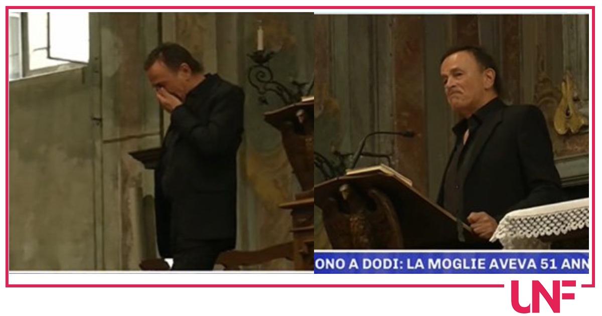 """Dodi Battaglia al funerale della moglie: """"Ho passato gli ultimi giorni abbracciato a lei"""""""