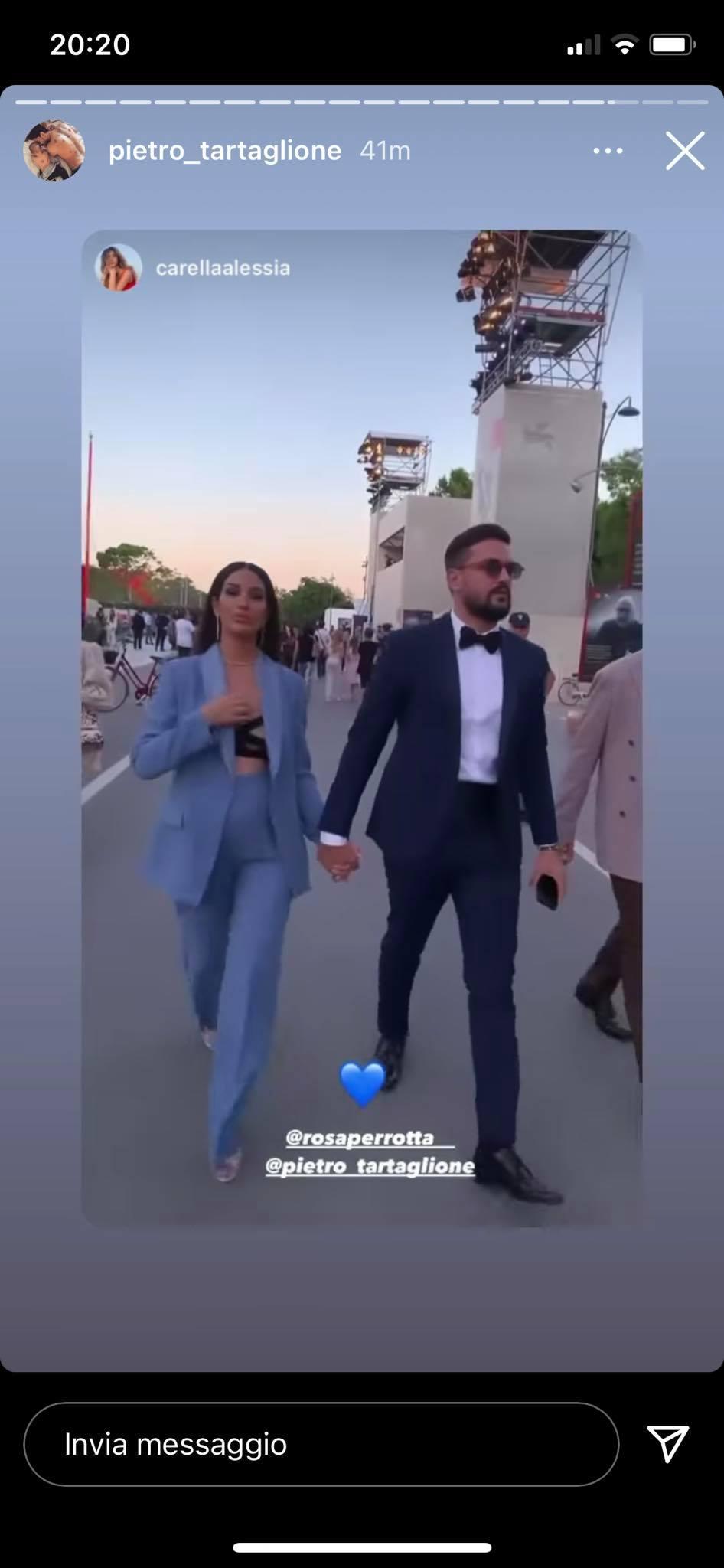 Rosa Perrotta e Pietro Tartaglione a Venezia: tailleur super sexy per la mamma bis