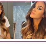 Giorgia Palmas capelli lunghissimi con e senza frangia, come sta meglio?