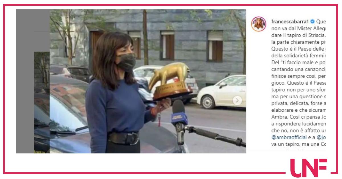 """Francesca Barra dalla parte di Ambra: """"Non va un tapiro ma una coppa"""""""